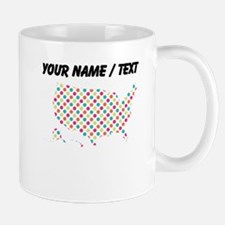Custom USA Silhouette Colorful Polka Dots Mugs