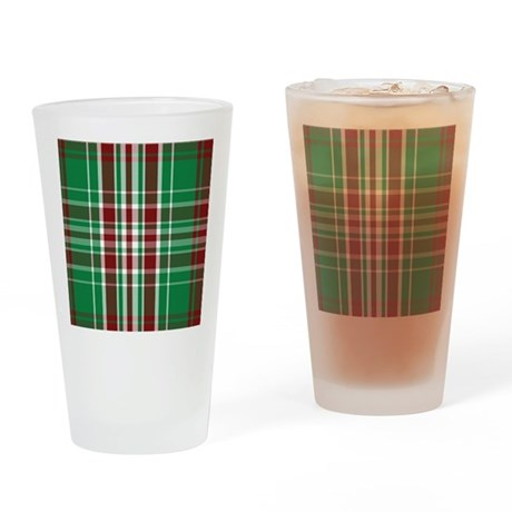 Christmas Plaid Drinking Glass