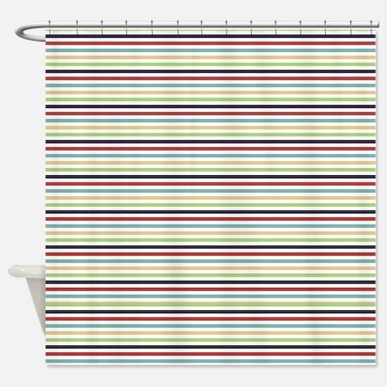 Multi Color Stripes Shower Curtain