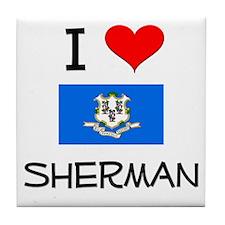 I Love Sherman Connecticut Tile Coaster