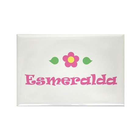"Pink Daisy - ""Esmeralda"" Rectangle Magnet"