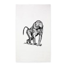 Baboon Sketch 3'x5' Area Rug