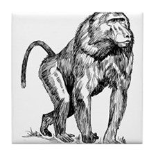 Baboon Sketch Tile Coaster