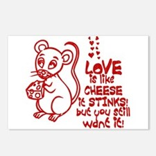 Love Stinks Like Cheese Postcards (Package of 8)