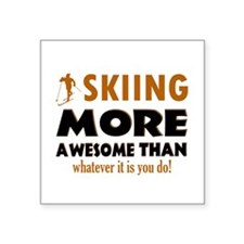 """Awesome skiing designs Square Sticker 3"""" x 3"""""""