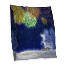 Fractal Winter Landscape Burlap Throw Pillow