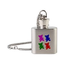 Pop Art Teddy Bear Silhouettes Flask Necklace