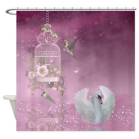Fantasy art swan humming bird shower curtain by for Fantasy shower curtains