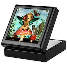 Cute Fairy On Mushroom Fantasy Art Keepsake Box
