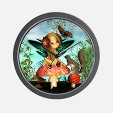 Cute Fairy On Mushroom Fantasy Art Wall Clock