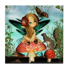 Cute Fairy On Mushroom Fantasy Art Tile Coaster