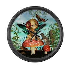 Cute Fairy On Mushroom Fantasy Large Wall Clock