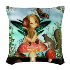 Cute Fairy On Mushroom Fantasy Woven Throw Pillow