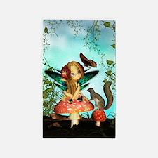 Cute Fairy On Mushroom Fantasy Art 3'x5' Area Rug