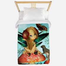 Cute Fairy On Mushroom Fantasy Art Twin Duvet