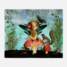 Cute Fairy On Mushroom Fantasy Art Throw Blanket