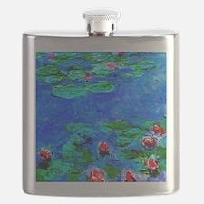 Monet - Water Lilies painting closeup Flask