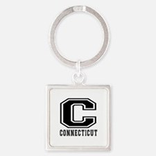 Connecticut State Designs Square Keychain