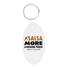 Awesome Salsa designs Aluminum Oval Keychain