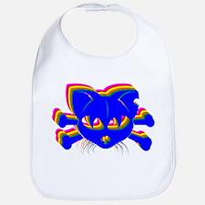 Rainbow Cat And Crossbones Bib