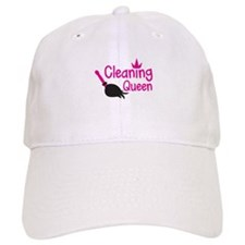 Pink cleaning queen with feather duster Baseball Baseball Cap