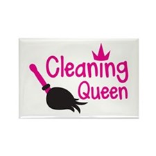 Pink cleaning queen with feather duster Magnets