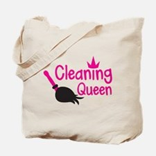 Pink cleaning queen with feather duster Tote Bag