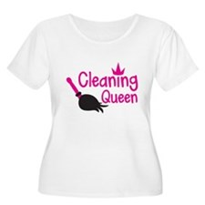 Pink cleaning queen with feather duster Plus Size