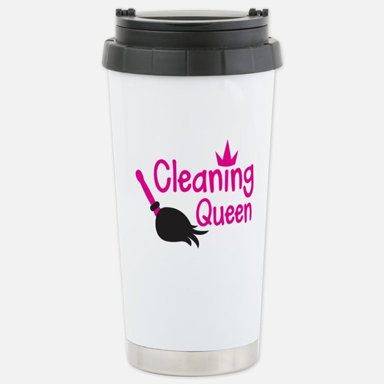 Pink cleaning queen with feather duster Stainless