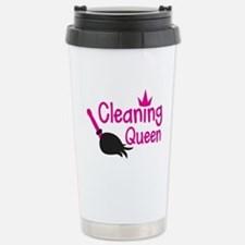 Pink cleaning queen with feather duster Travel Mug