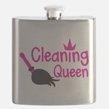 Pink cleaning queen with feather duster Flask