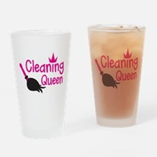 Pink cleaning queen with feather duster Drinking G