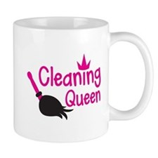 Pink cleaning queen with feather duster Mugs