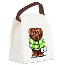Chocolate Havanese Scarf Canvas Lunch Bag