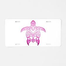 Pink Tribal Turtle Aluminum License Plate