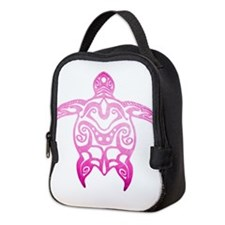 Pink Tribal Turtle Neoprene Lunch Bag