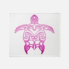 Pink Tribal Turtle Throw Blanket
