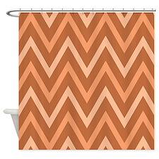 Chevron Design Rust Peach Apricot Shower Curtain