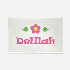 "Pink Daisy - ""Delilah"" Rectangle Magnet"