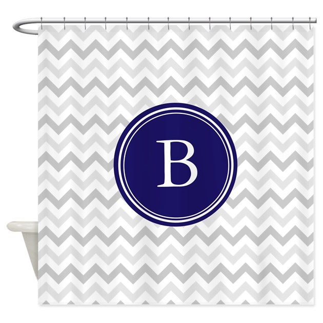 Navy Blue Monogram Grey Chevron Shower Curtain By InspirationzStore