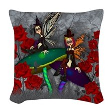 Gothic Rock Fantasy Fairy Art Woven Throw Pillow