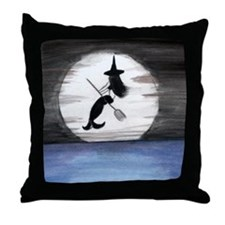 Mermaid Witch in the Moonlight Throw Pillow