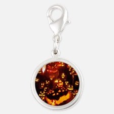 Many Faces Halloween Silver Round Charm