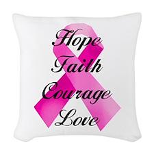 Pink Ribbon Woven Throw Pillow