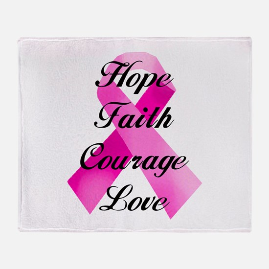 Pink Ribbon Throw Blanket