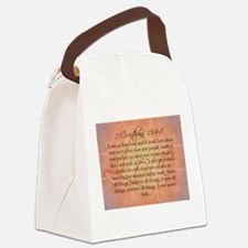 1 Corinthians Love Bible Verse Canvas Lunch Bag