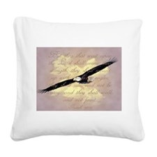 Wings as Eagles Bible Verse Square Canvas Pillow