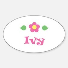 """Pink Daisy - """"Ivy"""" Oval Decal"""