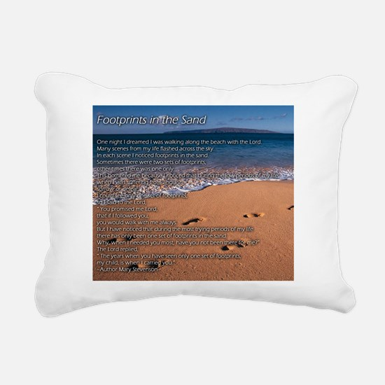 Footprints in the sand Rectangular Canvas Pillow