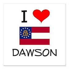 "I Love DAWSON Georgia Square Car Magnet 3"" x 3"""